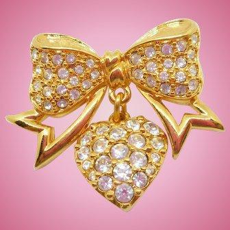 Swarovski Bow Pin w/Heart Dangle