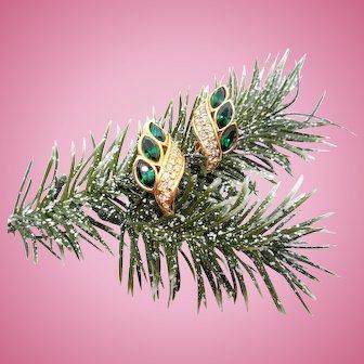Swarovski Green Rhinestone Earrings