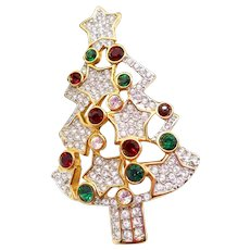 Authentic Swarovski Christmas Tree Pin