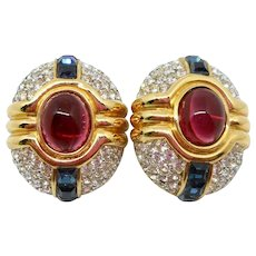 Dior Gripoix Mogul Style Clip Earrings