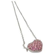 Swarovski Reversible Pink Rhinestone Heart Necklace