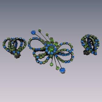 Weiss Blue Green Rhinestone Pin Earrings Set