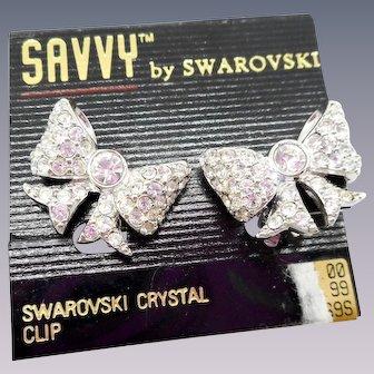NOS Swarovski Savvy Bow Earrings