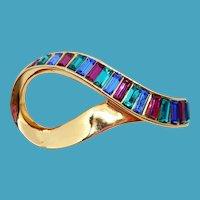 Vintage Swarovski Rhinestone Ribbon Pin