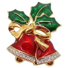 Swarovski Christmas Bells Pin