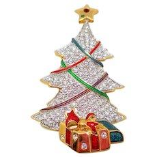 Swarovski Crystal Christmas Tree Pin with Presents