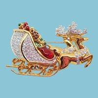 Swarovski Christmas Sleigh Pin