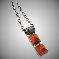 Sterling Goldstone Pendant Necklace