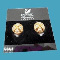 Swarovski Button Style Rhinestone Earrings - MOC