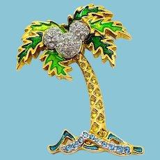 Swarovski Disney Mickey Mouse Palm Tree Pin