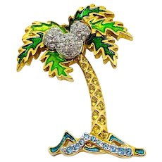 Swarovski Disney Mickey Mouse Palm Tree Pin