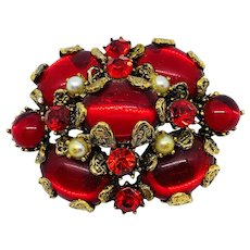 Hollycraft Ruby Red Pin w/Faux Pearls