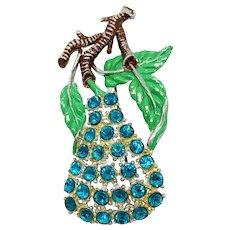 Vintage Turquoise Rhinestone Pear Pin