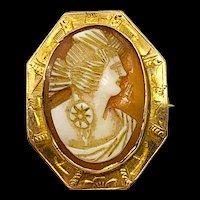 Vintage 10K Gold Cameo Pin