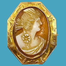 Vintage 10K Gold Cameo Pin