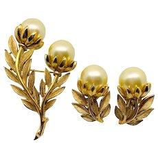 Trifari Brushed Gold Pearl Flower Pin Earrings Set
