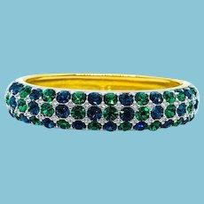 Swarovski Green Blue Rhinestone Bangle Bracelet