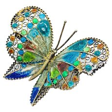 800 Silver Plique a Jour Butterfly Pin