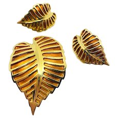 NAPIER Gold/Orange Striped Leaf Pin Earrings Set