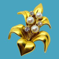 Swarovski Satiny Gold Flower Pin