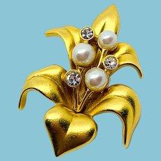 Swarovski Satiny Gold Flower Pin