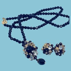 Jonné Black Beaded Necklace Earrings Set