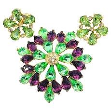 Spring Green & Purple Rhinestone Pin Earrings Set