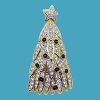 Retired Swarovski Crystal Christmas Tree Pin