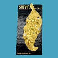 NOS Swarovski Savvy Large Leaf Pin - MOC