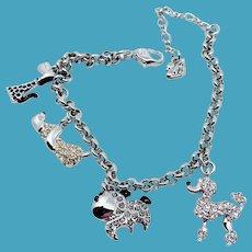 Swarovski Charm Bracelet w/Dog Charms