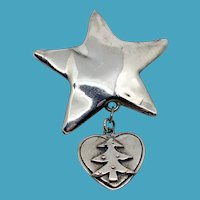 Bat-Ami Sterling Star Pin with Christmas Tree Charm