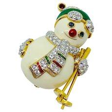 SWAROVSKI Snowman Skier Pin