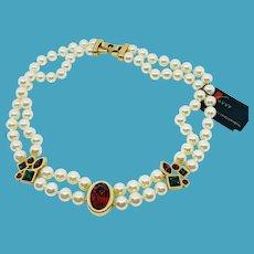 NOS Swarovski S.A.L. Pearl Necklace w/Jewel Tone Rhinestones