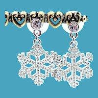 NOS Swarovski Snowflake Earrings
