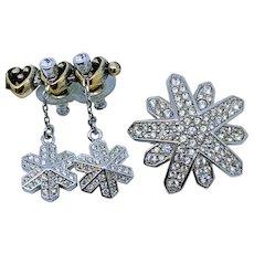 SWAROVSKI Snowflake Pin Convertible Earrings Set