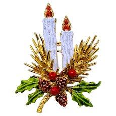 Vintage ART Christmas Candles Pin