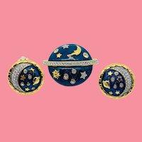 Swarovski Celestial Pin Earrings Set - Sun Moon Stars