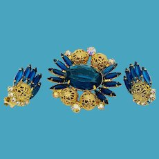 DeLizza and Elster (Juliana) Blue Rhinestone Pin/Earrings with Filigree Balls