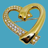 Swarovski Big Gold Heart Pin