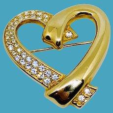 Swarovski Big Gold Heart Pin