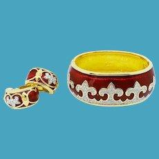 Swarovski Red Enamel Fleur De Lis Bracelet Earrings Set