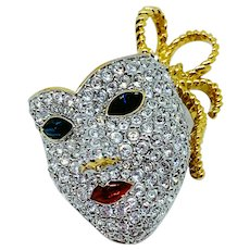 Swarovski Lady's Face Mask Pin