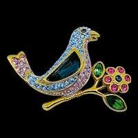 Swarovski Bird on a Branch Pin