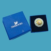 NOS Swarovski Blue Opalescent Ring - MIB