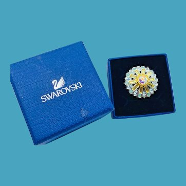 NOS Swarovski Blue Opalescent Ring - MIB