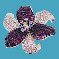 Swarovski Purple Flower Pin