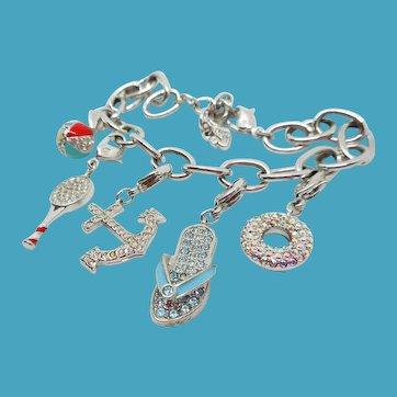 Swarovski Summer or Beach Theme Charm Bracelet - 5 Charms