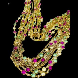 Swarovski 8 Strand Necklace - Pink Green Yellow Bezel Set