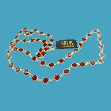 Swarovski Red Bezel Set Necklace
