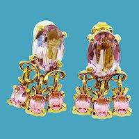 SWAROVSKI Lilac/Pink Rhinestone Clip Earrings